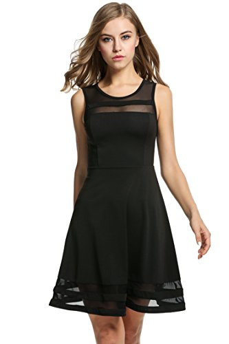HOTOUCH Women's A-Line Sleeveless Pleated Little Cocktail Party Dress Black - Black Sleeveless Laundry Little Dress