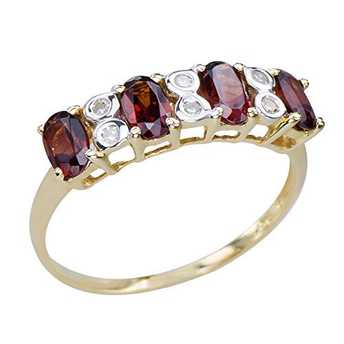Caratera Fine Gold Jewelry Eye-catching Women's Natural Garnet Gemstone 9K Yellow Gold Diamond Promise Ring 9k Yellow Gold Garnet Ring