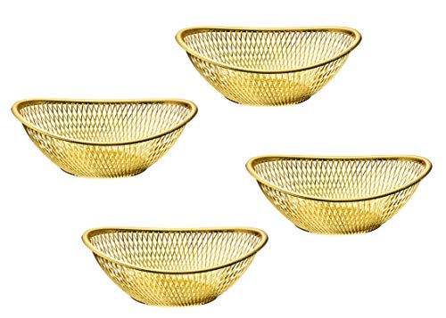 Impressive Creations Reusable Decorative Serving Basket - Plastic Fruit Basket - Bread Basket with Elegant Gold Finish - Functional and Modern Weaved Design - 4pk