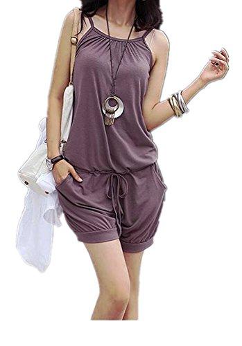 Lingswallow Women's Sleeveless Drawstring Casual Short Romper Jumpsuit Purple