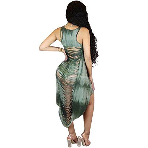Womens Brûler Sans Manches Sexy Été À Voir Par Le Vert Club De Bandage Irrégulier Mini Robe 2