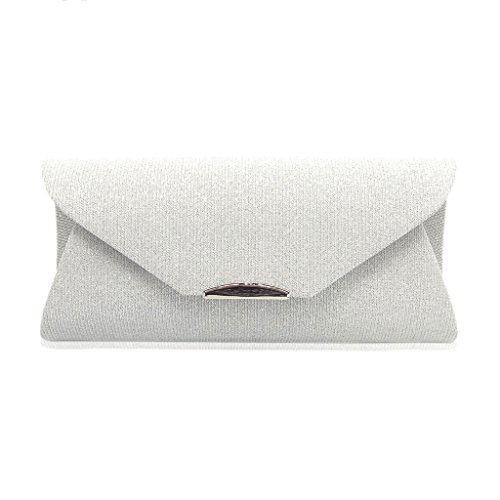 Dabixx Women Evening Shoulder Bag Pochette da sposa Prom Party Wedding Envelope Handbag Deep Grey Bianca