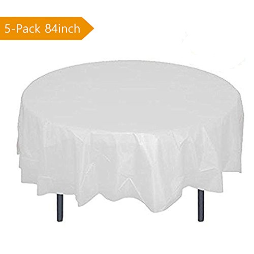 SalSell Disposable Plastic Tablecloth,White Round Table Covers for Parties 84'' 5-Pack 84' Round Plastic Tablecloths