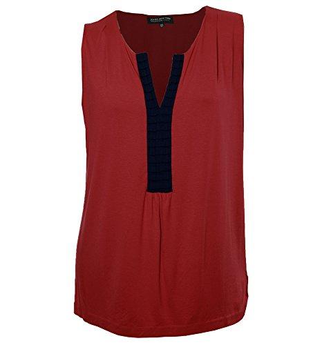 Jones New York Collection Woman Sleeveless Top - Jones New York Women's Plus Sleeveless Split Neck Shirt 0x Poppy / Navy