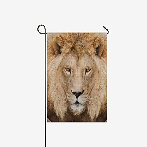 InterestPrint Majestic Lion Crowned with Mane Animal Head Decorative Flag Garden Flag House Banner for Wishing Party Wedding Yard Home Decor 12'' x 18'' (Without Flagpole) by InterestPrint