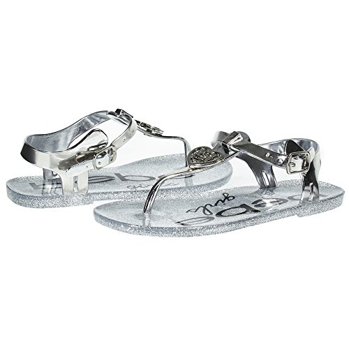 bebe Girls Big Kid Fashion Jelly Thong Slingback Flat Flip Flop Sandal Shoes with Mettallic Upper and Heart Size 11/12 Silver