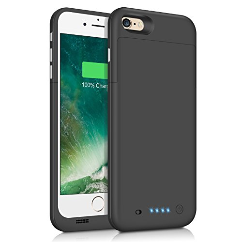iPhone 6 Plus 6S Plus Battery Case 6800mAh Capacity Extended Battery Power Charger for iPhone 6 Plus 6S Plus 4 LED Indication Ultra Slim Portable Charging Cover - Black