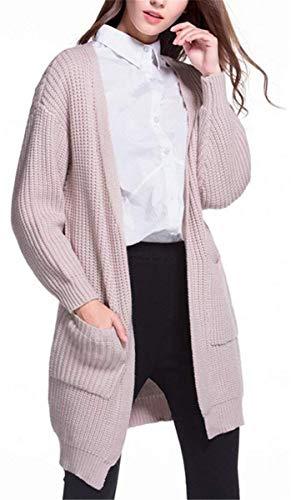 Color Larga Otoño Con Abrigo Manga Sólido Cardigan Anchas Largos Termica Mujeres Rosa Elegante Tejido Mujer Battercake Abrigos Bolsillos Casuales Invierno Ligeros Casual Outerwear w7qtxA8