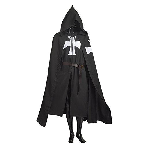 Blessume Medieval Knight Tunic Cloak Black Cosplay Costume (Mens Templar Knight Costume)