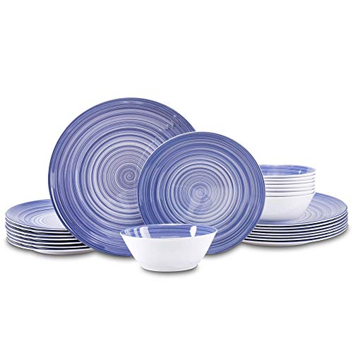 Joviton Home 24PCS Navy Blue Melamine Dinnerware Sets for 8,Outdoor Plates and Bowls Sets (Navy Blue)