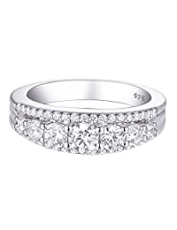 Newshe Eternity Ring Wedding Band for Women 925 Sterling Silver 1.13ct Round White AAA Cz Size 5-12