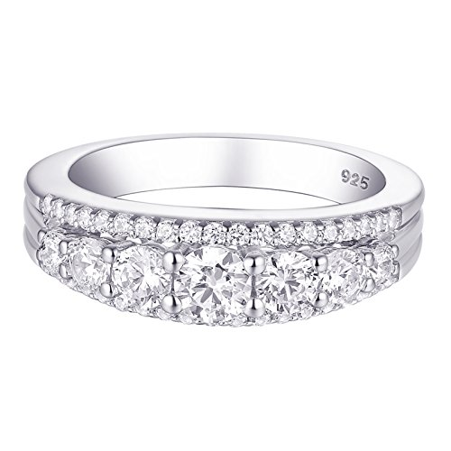 Newshe 1.13ct Round White AAA Cz 925 Sterling Silver Wedding Band Eternity Ring Size 7