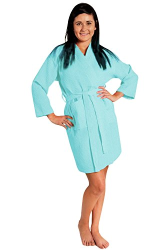 La La Spa Robe - Soft Touch Linen Lightweight Knee-Length Waffle Kimono Robe, Bridesmaids and Spa Bathrobe (Small/Medium, Light Turquoise)