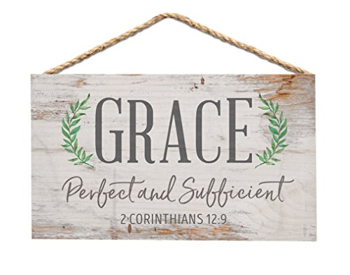 P. GRAHAM DUNN Grace Perfect Sufficient Whitewash 6 x 3.5 Wood Mini Wall Hanging Plaque Sign ()