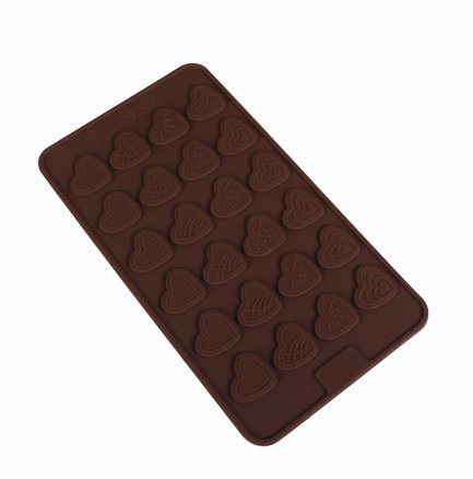 Okayji Silicone Bakeware Mould for Chocolate and Ice Cube 24 Cavity  withSmall Thin Heart