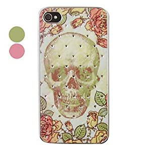 Petals Skull Pattern Zircon Back Case for iPhone 4/4S(Assorted Color) --- COLOR:Green