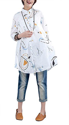 BUYKUD Women Cotton Printed Single Breasted Polo Collar White Long Sleeve ()
