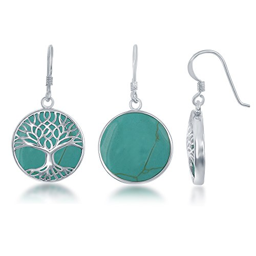 Sterling Silver Natural Turquoise Stone Tree of Life Circle Dangle Earrings