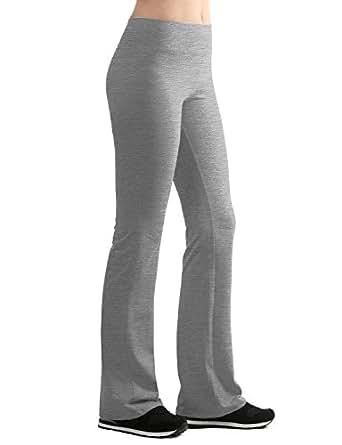 LL WB961 Womens Slim-Fit Bootleg Yoga Pants S HEATHER_GREY