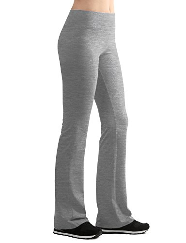 WB961 Womens Slim-Fit Bootleg Yoga Pants M Heather_Grey