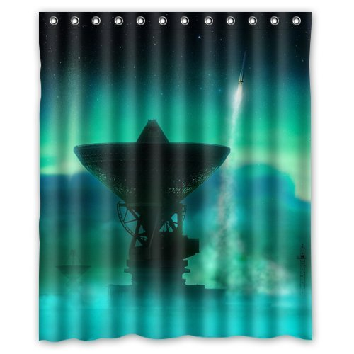 """Unique Design Northern Lights Custom 12 holes to which rings attach Shower Curtain 60"""" x 72"""" W-SC64"""