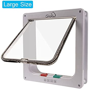 """Cat Flap Lifepul(TM) 4 Ways Locking Cat Door (Large Size 9.8"""" X 9.0""""), Pet Door Kit for Cats and Small Dogs with Telescopic Frame, Installing Easily"""