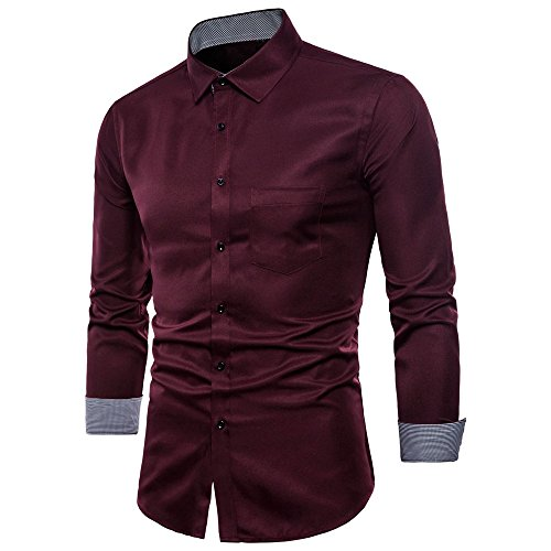 Hot Zlolia Men's Oxford Formal Casual Suits Long Sleeve Slim Fit Tee Dress Shirts Blouse -