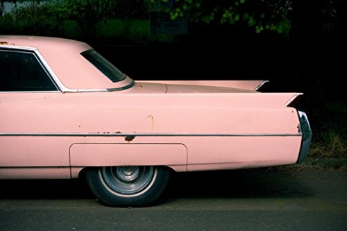 (Fins of Pink Cadillac Classic Car Photo Art Print Poster 36x24)