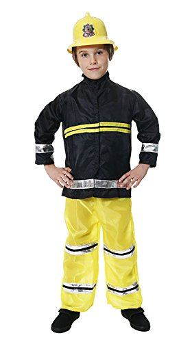 Rimi Hanger Boys Fireman Costume Children Firefighter Chief Fancy Dress Book Week Outfit Fireman Costume Small 4-6 Years -