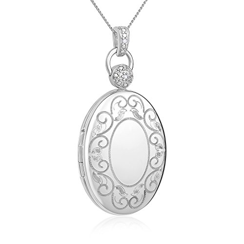 Sterling Silver Oval Diamond-Accented Locket Necklace with 18