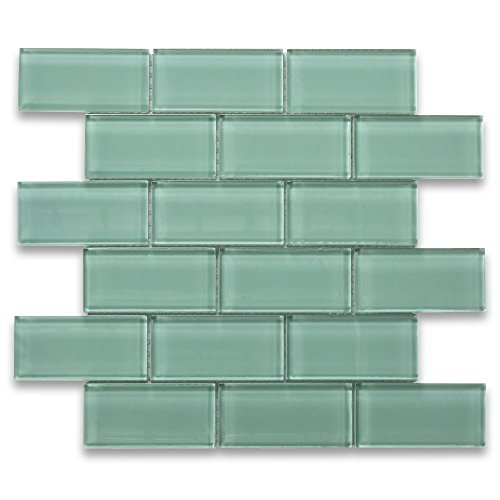 Light Green 2x4 Subway Glass Mosaic Tile ()