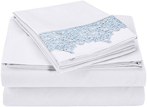 (Superior 100% Brushed Microfiber Wrinkle Resistant Full Sheet Set, 4-Piece, Light Blue)