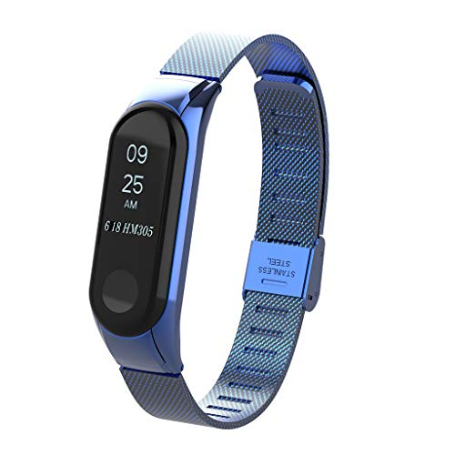 Yuemizi for Xiaomi Mi Band 3 unique stainless steel easy to adjust fashion classic coarse mesh Milan magnetic ring bracelet strap replacement strap (Blue)