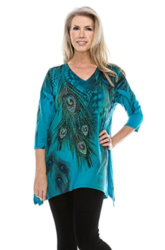 Sublimation V-neck Top - Jostar Women's HIT V-Neck Binding Top 3/4 Sleeve Sublimation Rhinestones X-Large Teal Feather