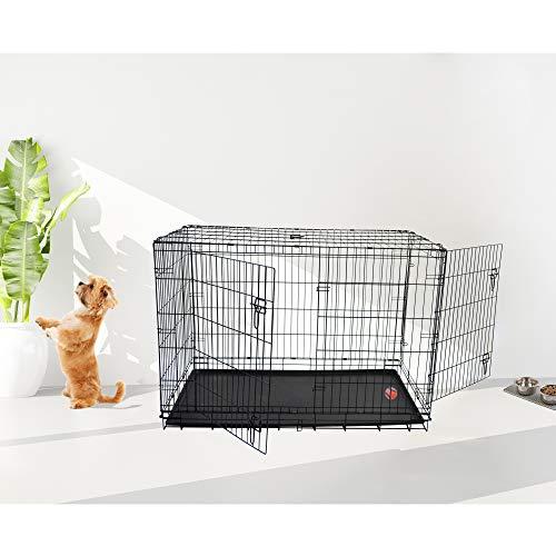Merax Extra-Strong Double Door Folding Metal Pet Dog Kennels Dog Crate Floor Protecting Roller Feet & Leak-Proof Plastic Pan (36 Inch)