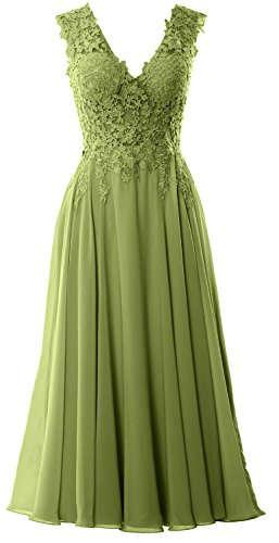 MACloth Gorgeous Tea Length Prom Homecoming Dress V Neck Formal Evening Gown Verde Oliva