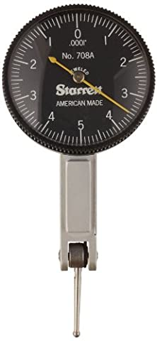 Starrett B708AZ Dial Test Indicator without Attachments, Dovetail Mount, Black Dial, 0-5-0 Reading, 0-0.01