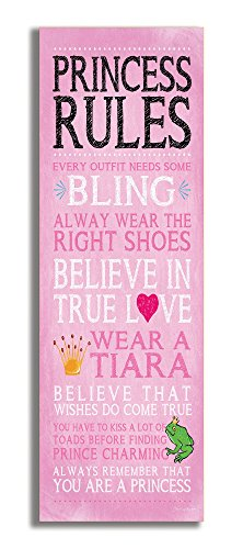 The Kids Room by Stupell Pink Princess Rules Rectangle Wall Plaque, 7 x 0.5 x 17, Proudly Made in USA