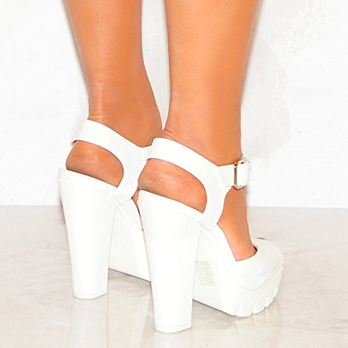 Ladies Womens White Cleated Platforms Summer Strappy Sandals High Heels Shoes cJk9gKcfDp