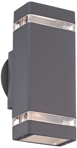 possini euro rectangular graphite up down outdoor wall light