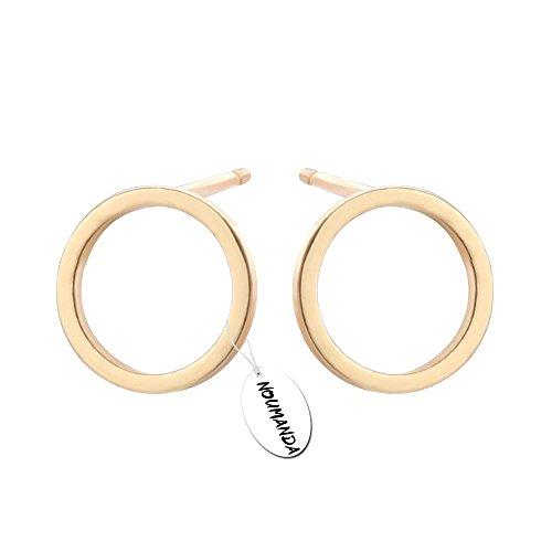NOUMANDA Pretty Bijoux Tiny Round Stud Earrings Simple Geometric Circle Earrings for Women Girls