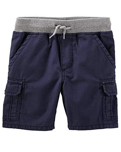 (OshKosh B'Gosh Boys' Poplin Pull Up Cargo Shorts, Navy, (9-12 Months))