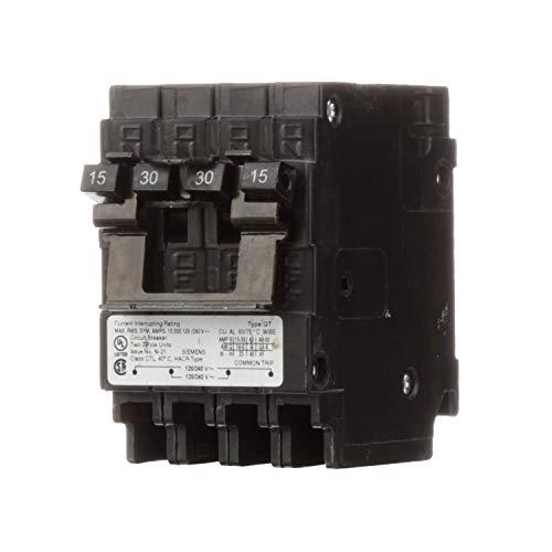 (Siemens US2 Q21530CT2 15A 240V 4P 10K New Quad, Black )