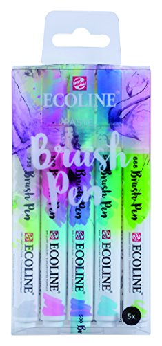 Ecoline Liquid Watercolor Brush Pen, Set of 5 - Pastel (11509901)