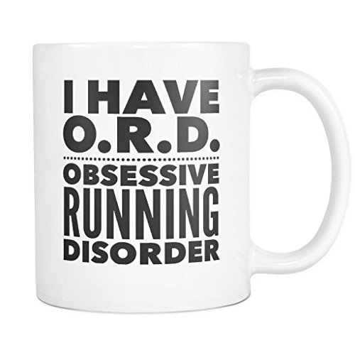 ArtsyMod ORD OBSESSIVE RUNNING DISORDER Typography Premium Coffee Mug, PERFECT FUN GIFT for the Runner, Marathon, Triathlon, Ironman Lover! Attractive Durable White Ceramic Mug (11oz., Black Print)