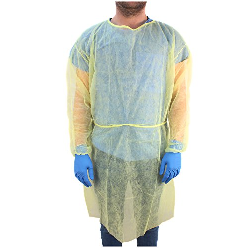 Ever Ready First Aid DYN2141-X10 Isolation Gown with Elastic Wrists, Universal Quantity, Yellow (Pack of 10)
