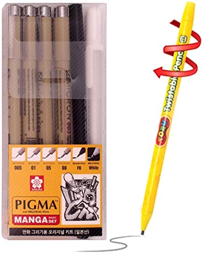 Sakura Pigma Manga set - Archival pigment ink drawing pens - 6 pieces Manga Basic Set supplies for artist (005, 01, 05, 08, FB brush pen, Gelly roll pen white) plus Tiny Gift Included from Withjenny