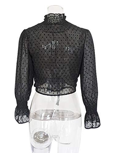 Mode Chemisiers Imprime Bandage avec Hauts Tops Blouse Court Sleeve Automne Noir Shirts Printemps Chemises Casual Femmes Flare E8z4fPnq7A