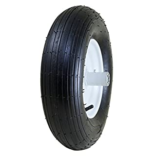 "Marathon 4.80/4.00-8"" Pneumatic (Air Filled) Tire on Wheel, 6"" Hub, 5/8"" Bearings, Ribbed Tread"