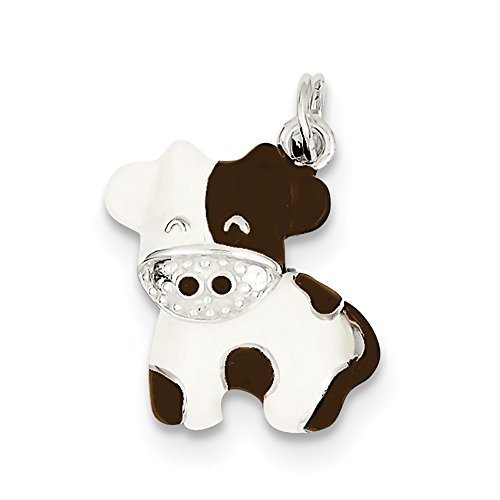 Sterling Silver Simulated CZ Brown & White Enameled Polished Cow Charm (20 mm x 20 (Enameled Cow Charm)